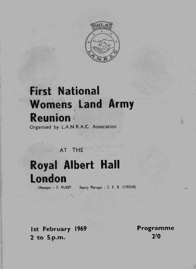 Программа первого сбора ветеранов Женской сельскохозяйственной армии, 1 февраля 1969 г.