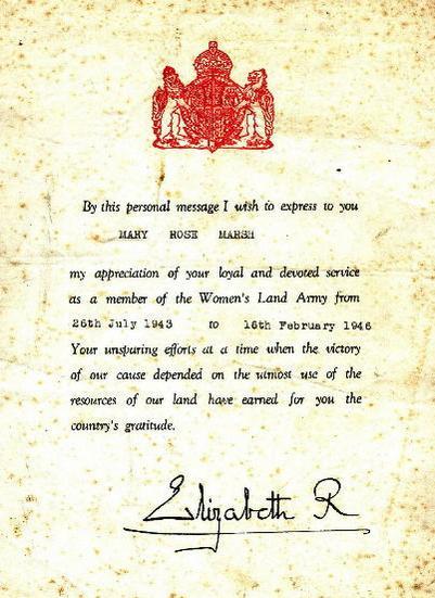 Справка о службе Мэри, подписанная королевой-консортом Елизаветой.