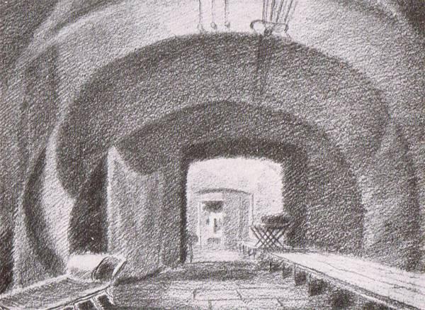Бомбоубежище № 5 - под египетскими залами. Рисунок А.С.Никольского.