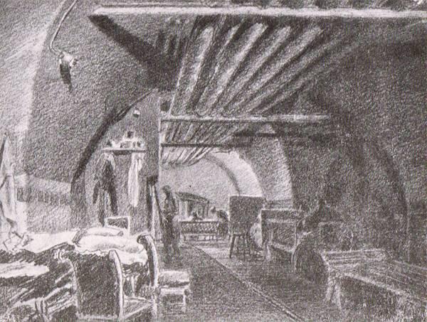 Бомбоубежище № 7 - под итальянскими залами. Рисунок А.С.Никольского.