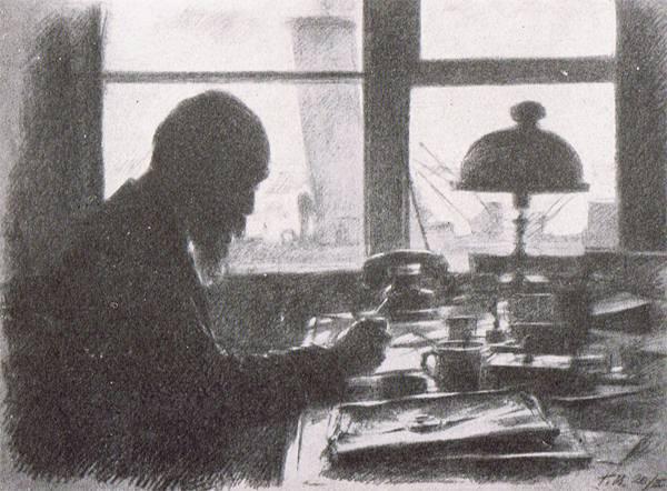 Академик И.А. Орбели в своем служебном кабинете. Март 1942 г. Рисунок Г.С. Верейского.