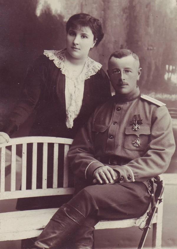 Алексей Павлович Киткин с женой. Фотография 1913 г.