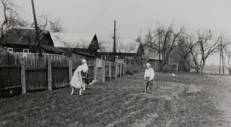 Сергеевичи. Поле рядом с домом дедушка и на втором плане бабушка
