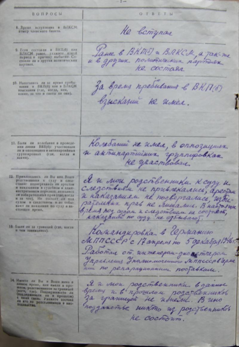 Анкетные данные Уляхина Николая Георгиевича