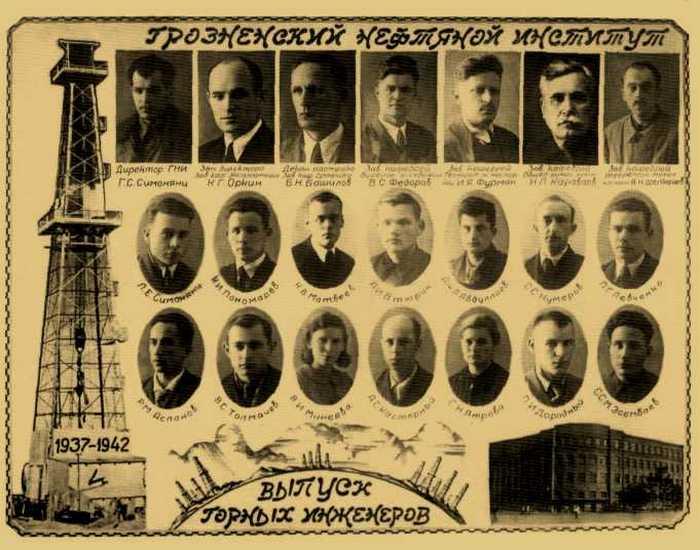Выпуск горных инженеров. Грозненский нефтяной институт 1937-1942 гг.